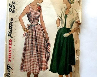50s Simplicity 3196 Maternity Dress, Sleeveless with Scoop Neck, Flared Skirt and Bolero Size 12 Bust 30