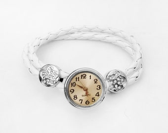 Get 15% OFF - Clear Rhinestones Silvertone Flower Charm White Leather Bracelet Snap Button Watch - Valentine's Day SALE 2016