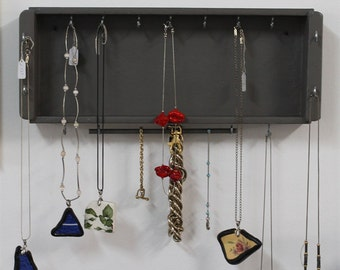 Jewelry Organizer - Jewelry Hanger - Wooden Wall Hanging