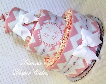 Pink Chevron Baby Diaper Cake Shower Gift or Centerpiece
