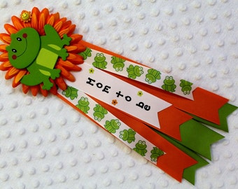 Baby Shower Mum Mom to be Frogs Theme Corsage Ribbons