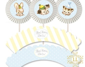 Blue Tiny Trio Cupcake Kit by Loralee Lewis