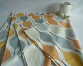 4 Napkins Orange Grey Funky Retro Geometric Fabric Dinner Napkins washable ANY of MY DESIGNS