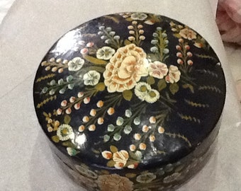 Vintage Lidded Decorative Box or Set of Five Coasters with Box Container