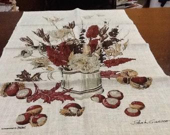 Vintage KAY DEE Tea Towel By John L. Gieroch Prairie Flowers Jug Mid Century Kitchen Towel