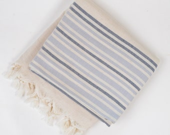 linen beach towel, turkish bath towel, christmas gift, beige violet dark blue striped towel, yoga, spa, pareo, beach towel, bridesmaid gift