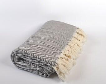 throw blanket, twin size cotton bed throw, gray chevron blanket, bed cover, blanket, 100% cotton throw, turkish cotton blanket