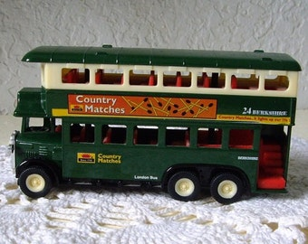 Die Cast Double Decker London Bus with ad for Country Matches, No. SS5854 Made by Superior.