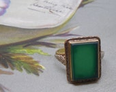 RESERVED 4 Rebecca:  Antique 10k Gold Square Green Stone Ring Size 6