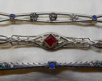 Lot of 3 Edwardin Silver Bar Pin Brooch Barpin Stickpin