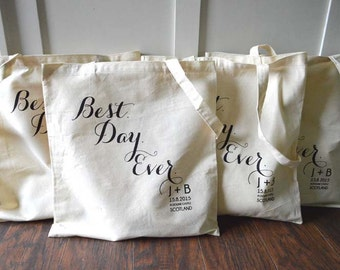 10+ Best Day Ever Custom Canvas Wedding Tote Bags - Eco-Friendly Natural Cotton Canvas