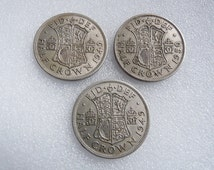 British Coins ~ Three King George VI Half Crowns ~ English Collectible Coins 1940s 1950s