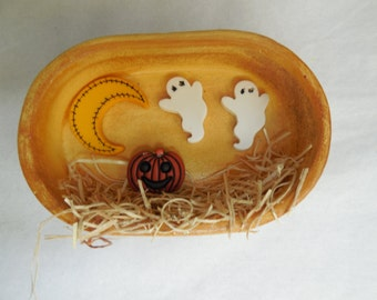 Hand Painted Shadow Box Ceramic Halloween Refrigerator Magnets