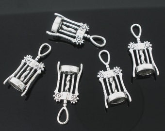 10pcs. Antique Silver Wine Corkscrew Tool Charms Pendants - 27mm X 11mm