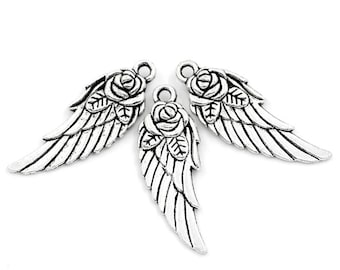 10pcs. Antique Silver Flower Carved Wing Charms Pendants - 31mm X 11mm