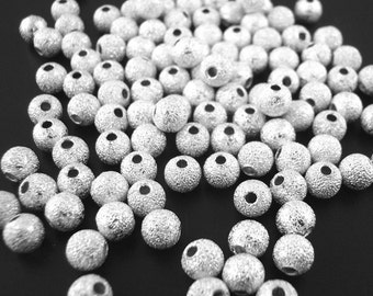 4mm - 50pcs. Silver Plated Stardust Ball Spacer Beads - 4mm