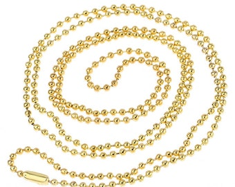 "12 pcs. Gold Plated Ball Chain Necklaces - 80 cm (31.5"") - 2mm Ball Size"