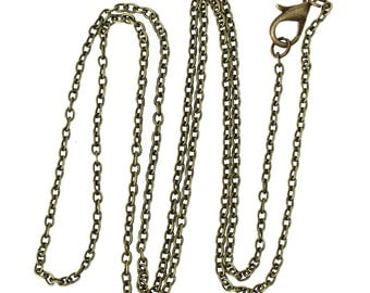 "12 pcs. Antique Bronze Cable Chain Link Necklaces 24 3/8"" - (3 x 2mm Links) - Lobster Clasps - Claw Clasps"