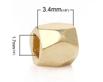 50pcs Gold 18K over Copper Cuboid Spacer Polygon Faceted Beads - 3.4 x 3.4mm