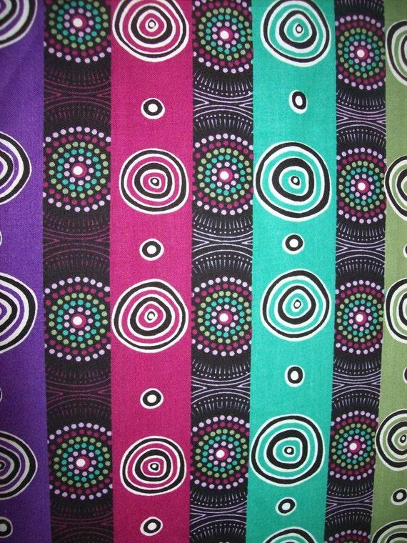 Per Yard Desert Flowers Purple Green Ethnic Fabric