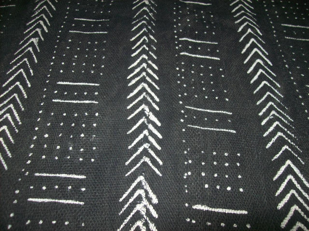 Specialty Mudcloth Black White Real African Mud Cloth Fabric