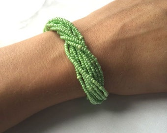 Light Green Bracelet, Lime Green Bracelet, Seed Bead Bracelet, Beaded Bracelet, Green Seed Bead Bracelet, Jewelry, Green Bracelet, Bracelet
