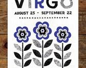 11x14 Zodiac, Violet & Black, Virgo Art Print, Modern, Geometric, Typography, Illustration