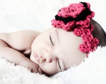 6 to 12m Flower baby girl headband in hot pink and black, crochet rosette petals and hair band accessory gift for babies