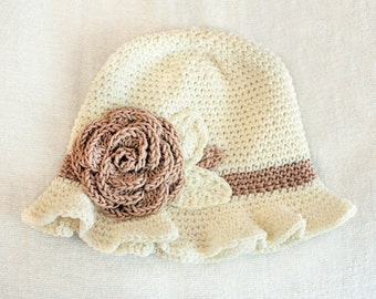 6 to 12m Crochet Sun Hat Baby Hat in Cream and Tan - Crochet Rose Flower Hat Cloche Hat Baby Girl Baby Flapper Girl Photo Prop Costume Gift