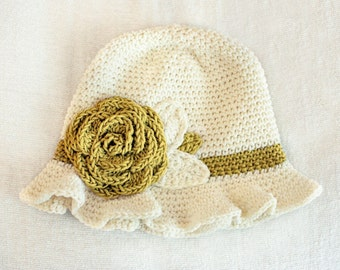 SALE 12 to 24m Crochet Sun Hat Baby Hat in Cream and Mustard Yellow Crochet Rose Flower Hat Cloche Hat Baby Girl Baby Flapper Girl Prop