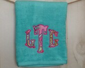 Personalized Embroidered Monogrammed Bath Towel