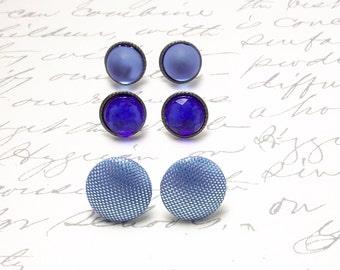 Sky Blue Earrings Set. Tiny Post Earrings for Carolina Blue Wedding. Small Stud Earrings. Resin Stud Earrings.