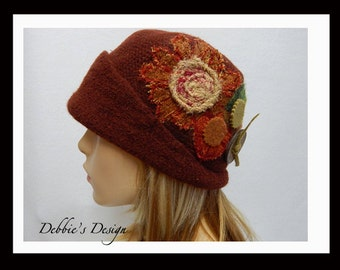 Women's Handmade Felted Cloche Hat-35  Women's Felted Cloche Hat, Vintage, Accessories, Hat, Fall-Winter, cloche felt hat, Downton abbey