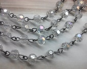 6 mm Faceted Round AB  Crystal Clear Glass Beaded Rosary Chain with Antique Silver Loops. Jewelry Supply. Bridal Embellishment. 36 Inches