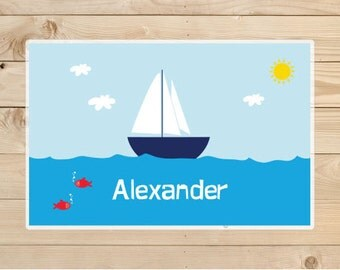 Kids-Personalized-Placemat---Sailboat-Placemat  - Laminated-Placemat - personalizaed gift idea for boys