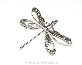 Filigree Dragonfly Pendant, Extra Large 42x50mm, 1 Loop, Sterling Silver Plated, Lead & Nickel Free, Lot Size 1 to 20, #11S