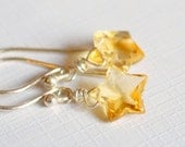 Real Citrine Earrings, Stars, Sterling Silver Jewelry, November Birthstone, Simple Dainty and Delicate, Free Shipping