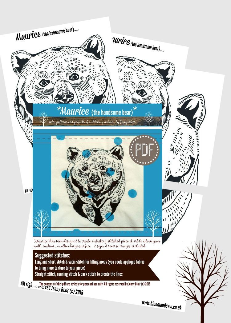Bear embroidery pattern pdf hand embroidery design diy for Statement wall decor
