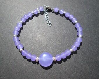 """Lavender jade gemstone bracelet- 6""""- adjustable to 7"""""""