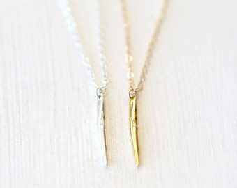 Modern Gold and Silver Spike Necklace // simple modern everyday earrings