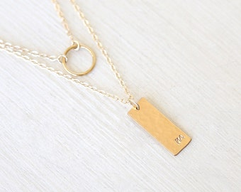 Smooth 14K Gold Filled Circle and Stamped Initial Bar Plate Layering Necklaces Set // Everyday modern simple jewelry