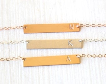 Custom Stamped Initial Bar Necklace // 14K Gold Filled // Sterling Silver // Rose Gold// Simple everyday hammered initial jewelry