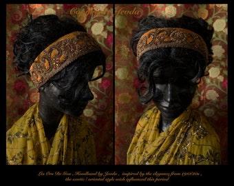 Vintage ZARDORI Hand Made METALLIC Gold Threads Head Band INDIA