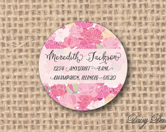 Round Return Address Labels with Pink Peony Background - 96 self-sticking labels
