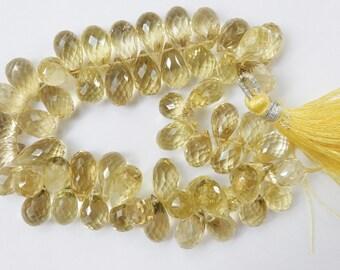 6pcs Lemon Topaz teardrop briolettes  (11-12x7mm),