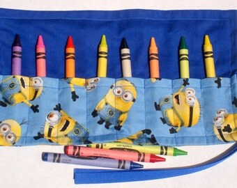 Crayon Roll Up Crayon Holder Blue Tossed Minion - Holds 8 Crayons