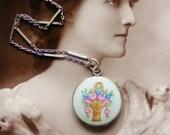 Edwardian silver guilloche enamel locket and chain