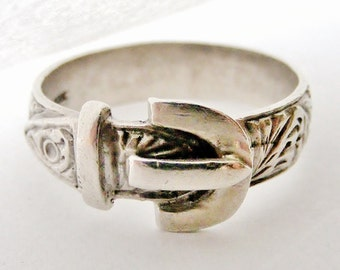 Vintage sterling silver heavy buckle ring size  11 plus