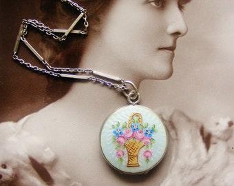 Edwardian antique silver guilloche enamel locket and chain