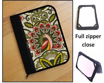 personalized HARD case - ipad case/ kindle case/ nook case/ others - full zipper close - feathers